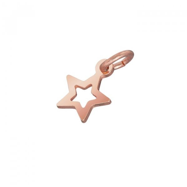 Rose Gold Vermeil Small Open Star Charm Pendant (8x6mm)