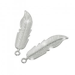 Silver Plated Feather Pendant Charms 40x11x2mm Pack of 2