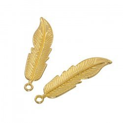 Gold Plated Feather Pendant Charms 40x11x2mm (Pack of 2)
