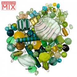 Glass Acrylic Metal Beads Mix Greens And Yellows 100g