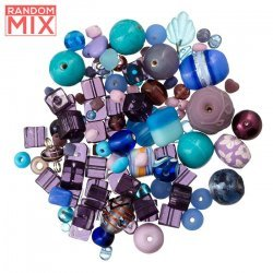 Glass Acrylic Metal Beads Mix Blues And Purples 100g