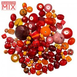 Glass Acrylic Metal Beads Mix Oranges And Reds 100g