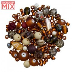 Glass Acrylic Metal Beads Mix Browns And Creams 100g
