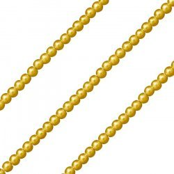"4mm Warm Gold Glass Round Pearl Beads - On 32.5"" Strand"