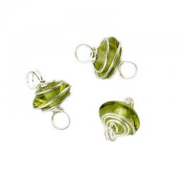 Silver Wire Wrap Light Green Disc Glass Beads With Loops 8mm PK3