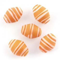 Orange and White Striped Barrel Matte Glass Beads 18mm