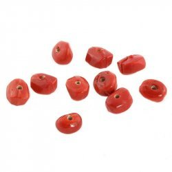 Opaque Nugget Red Glass Beads 10x8mm PK10