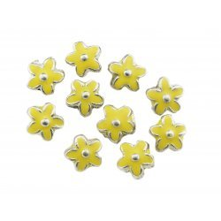 Yellow Enamelled Silver Metal Flower Beads 15mm PK10