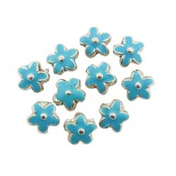 Silver Metal Flower Bead Enamelled Turquoise 15mm PK10