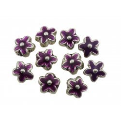 Purple Enamelled Silver Metal Flower Beads 15mm PK10