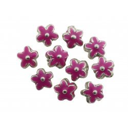 Enamelled Pink Silver Metal Flower Beads 15mm PK10