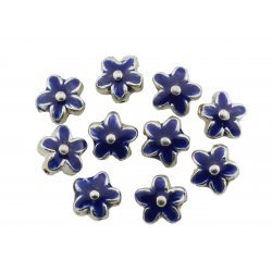 Enamelled Blue Silver Metal Flower Beads 15mm PK10