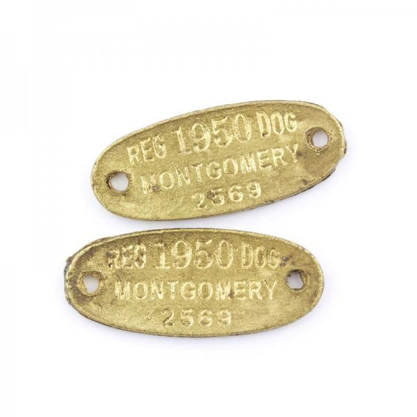 Antique Gold Oval Metal Double Hole Dog Tag 36x15mm PK2